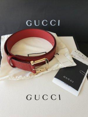 Gucci Lederen riem goud-donkerrood Leer