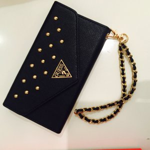 NEU!!! GUESS Studded Sammlung Clutch Hülle für Apple iPhone 6/6S black/gold