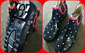 6ee2bf7a57f67 NEU Gummistiefel Stiefeletten Boots Regenschuhe Gr.37 38 blau gepunktet