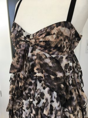 NEU H&M Abend Kleid Leopard XS 34 Volantkleid Volants Abiball Cocktail Party Hochzeit Animal Print