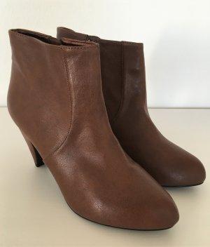 NEU H&M Ankle Boots 39 Braun Cognac Stiefeletten High Heels Damen Stiefel Booties