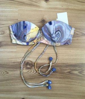 NEU H&M Bikini Bandeau Top XS 34 Balconette Oberteil Push-up Muster Badeanzug