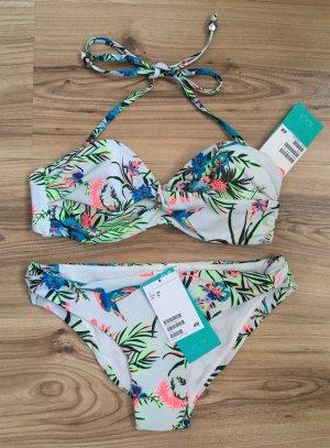 NEU H&M Bikini Set XS 34 Balconette Neckholder Oberteil Push-up Bandeau Blumen