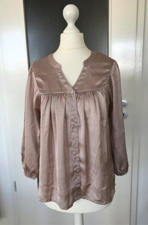 NEU H&M Bluse XS 34 Pastell Rose Top Shirt Tunika Nude Seidenoptik Blusentop
