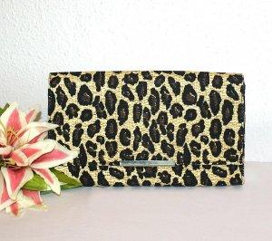 Neu H&M Clutch Leo Look Gold Edel Design