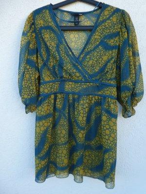 NEU - H&M – Damen Bluse transparent, gemustert in dunkelgrün/türkis und olivgrün