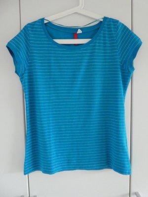 NEU – H&M Divided – T-Shirt, türkis mit feinen weißen Streifen