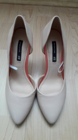 NEU H&M Echtleder Pumps Stilettos puder creme Gr. 36