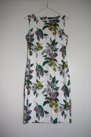 NEU H&M Etuikleid Blumenmuster mit Perlen Rückendetail weiß gelb grün rosa grau