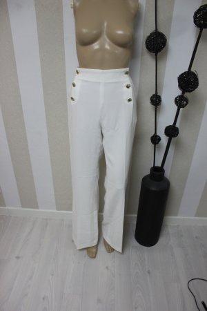 H&M Pantalon taille haute crème-blanc
