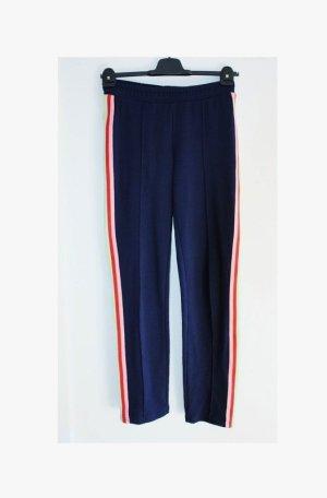 H&M Pantalon de jogging bleu foncé-rouge tissu mixte