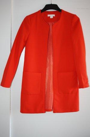 H&M Long Jacket brick red-salmon mixture fibre