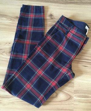 NEU H&M Karo Hose Baumwollhose XS 34 Slim Fit Karriert Skinny Glencheck Casual Röhrenhose