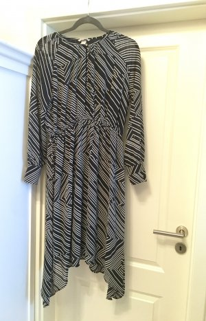 H&M Chiffon Dress white-dark blue