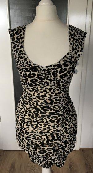 NEU H&M Mini Sommer Kleid XS 34 Leopard Muster Tunika Animal Print Party Strand