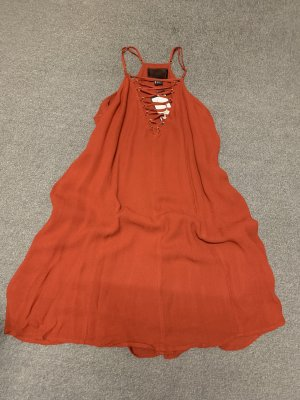 Neu! H&M Neckholder Kleid Dunkelrot/orange