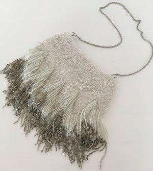 Neu H&M Paillettentasche Weiß Grau Silber Satin Perlen Abend Tasche Hochzeit
