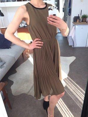 Neu! H&M Plissee Midi Kleid Khaki Cosy Blogger Gr. 38 Safari