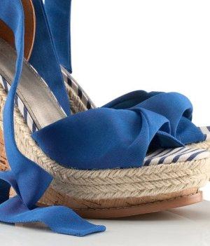NEU! H&M Schleifen Schnürr Schuhe Wedges Keil Blau paris streetstyle