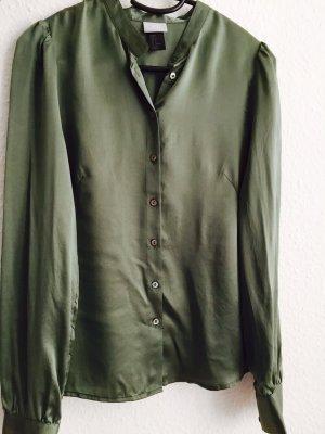 Zijden blouse groen-grijs Zijde