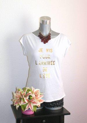 Neu H&M Shirt Print Statement Gr.38/40 Weiß Gold