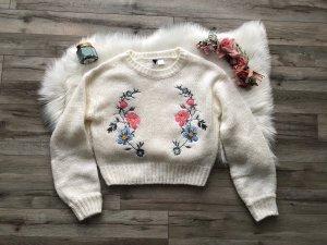 NEU H&M Strick Pullover Gr. XS S 34 36 38 Creme Blumen