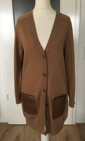 NEU H&M Strickjacke XS 34 Long Cardigan Camel Maxi Oversized Feinstrick Pulli Leder