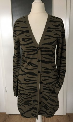 NEU H&M Strickjacke XS 34 Long Cardigan Khaki Oversized Feinstrick Pulli Leopard Animal Print