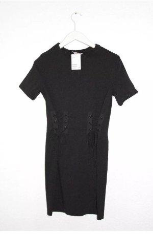 NEU!! H&M TrendShirt Kleid XS 34 32 Schwarz Schnürung  Blogger Look