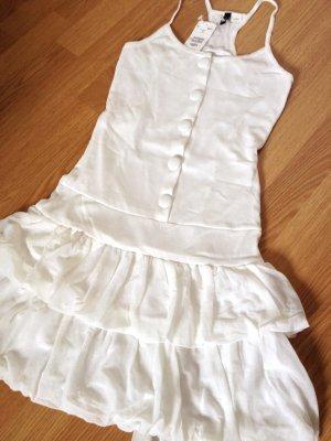 NEU H&M Volantkleid Rüschen Strand Kleid Weiß XS 34 Blogger Schleife