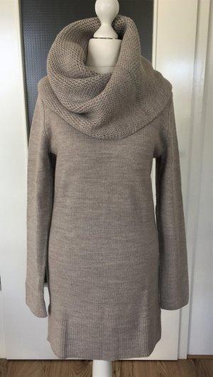 NEU H&M Winter Pullover XS 34 Beige Longpulli Strickkleid Strickpullover Maxi Oversized Schalkragen Pulli