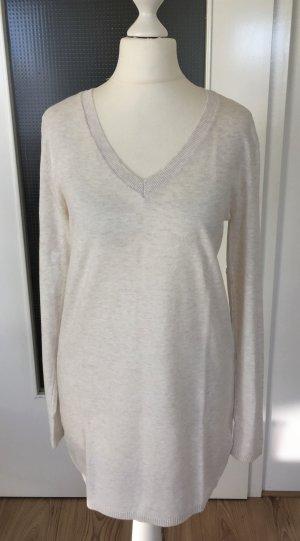 NEU H&M Winter Pullover XS 34 Creme Pulli Sweater Strickpullover Strickpulli Feinstrick Longpulli Strickkleid