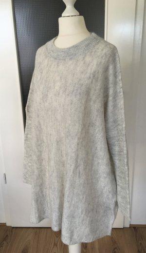 NEU H&M Winter Pullover XS 34 Grau Longpulli Strickpullover Maxi Oversized Wollpullover