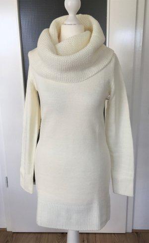 NEU H&M Winter Pullover XS 34 Weiß Longpulli Strickkleid Strickpullover Maxi Oversized Schalkragen Pulli