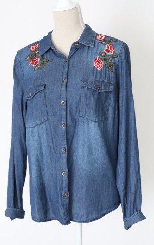 * NEU * HaILY'S Jeansbluse Bluse Jeans 38 40 M L Stickerei geblümt blau