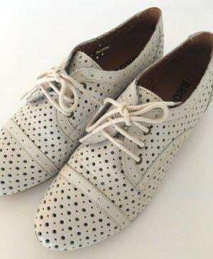 Bronx Zapatos brogue blanco puro-crema Cuero