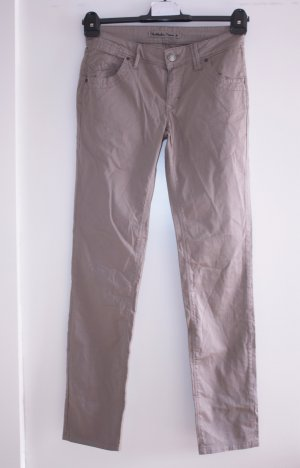 Hallhuber Drainpipe Trousers sand brown-grey brown cotton