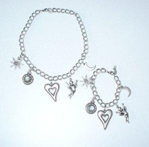 neu HEINE 2tlg Set Armband + Halskette ~ massiv Kette Engel Herz Blogger Style