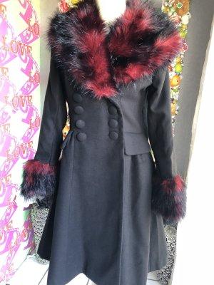 Hell Bunny Manteau en laine noir-rouge carmin
