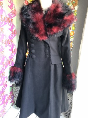 Hell Bunny Wollen jas zwart-karmijn