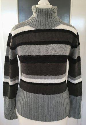 Neu Herbst Winter Pullover XS 34 Streifen Grau Rollkragen Pulli Wollpullover Wolle