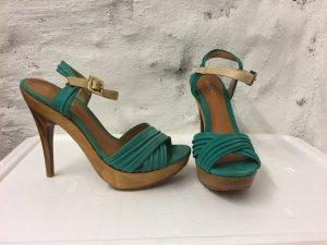 NEU High Heel Sandaletten ALDO, robuste Sohle, Türkis, Sommerschuh ungetragen