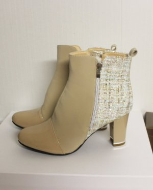 NEU High Heels Boots Tweed Boucle Stiefeletten