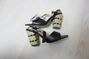 High-Heeled Sandals black-gold-colored