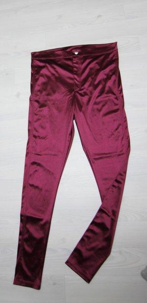 H&M Pantalon taille haute rouge mûre