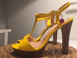 Akira T-Strap Sandals yellow-dark yellow leather