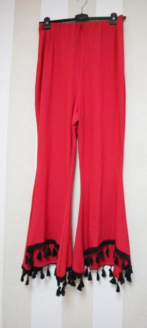 Boohoo Pantalón negro-rojo