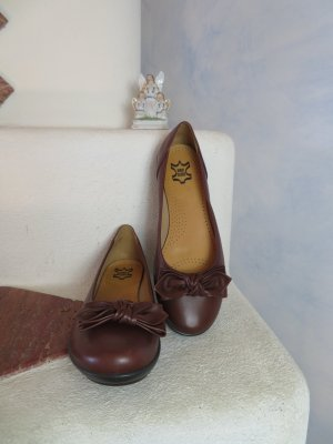 NEU! HOTTER Comfort Concept Made in England - Leder Ballerina Schleife 40 Braun Slip Ons - Einlagengeeignet