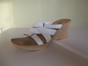 Strapped High-Heeled Sandals white-gold-colored imitation leather