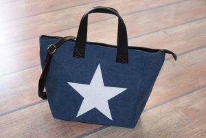 neu ~ ITALY Handtasche echtes Leder mit Stern ~ Schultertasche Umhängetasche ☀ ☃ ♥ WINTER-SALE ☆ ☀ ☃ ♥